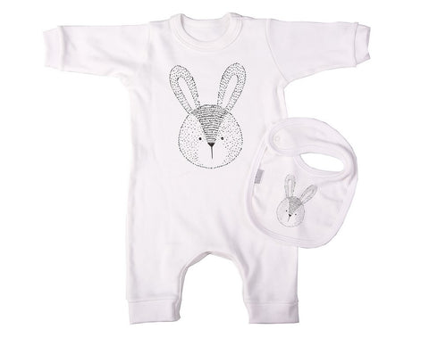 Loose Fitting Bunny Babygro And Bib Set - Little Lumps