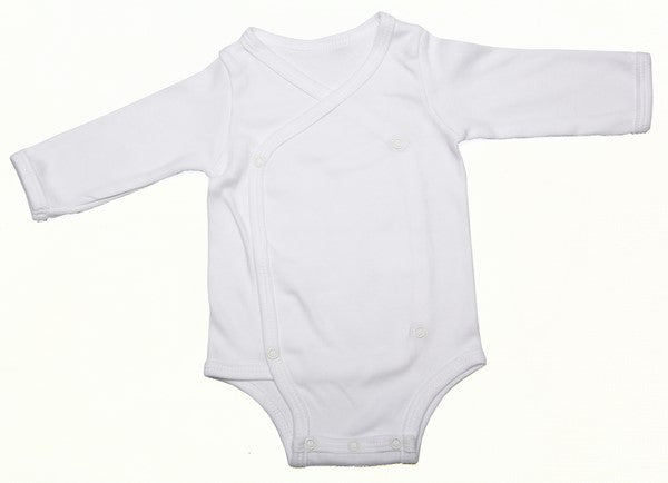 Baby Blanks - Cross-over Onesie long sleeve (2 Pack  or 6 Pack)Pink,Blue,White,Grey,Black