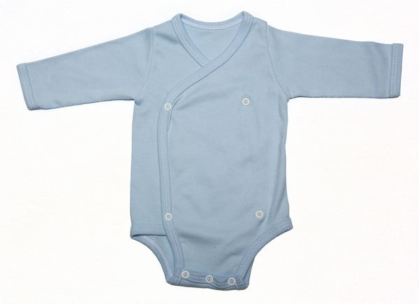 Blank Baby Crossover Button-Up Onesie With Long Sleeves (6 Pack) - Little Lumps
