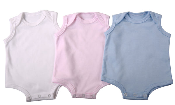 2-Pack Sleeveless Baby Onesies In Blank Colours 100% Cotton - Little Lumps