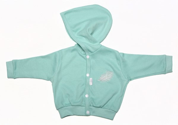 Aqua Coloured Hooded Baby Jacket With Button-Up Front - Little Lumps