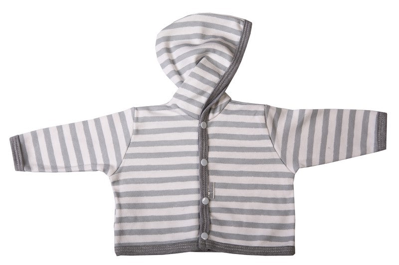 Grey And White Striped Hooded Baby Jacket - Little Lumps
