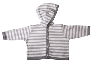 Grey And White Striped Hooded Baby Jacket - Little Lumps Baby Clothing Online
