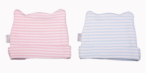 Stripey Baby Beanie With Ear Detail - Little Lumps Baby Clothing Online