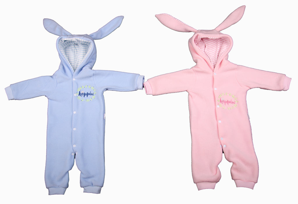 Hooded Bunny Rabbit Polar Fleece Babygro With Bunny Ears - Little Lumps