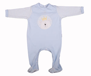 Embroidered Bear Babygro In Blue Or Pink - Little Lumps