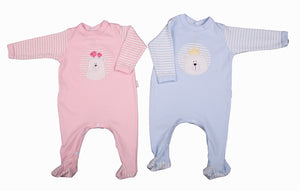 Embroidered Bear Babygro In Blue Or Pink - Little Lumps Baby Clothing Online