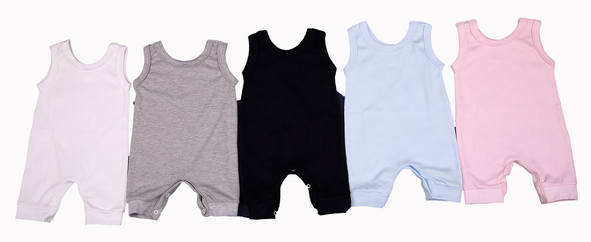 100% Cotton Blank Sleeveless Baby Rompers In Mixed Colours - Little Lumps
