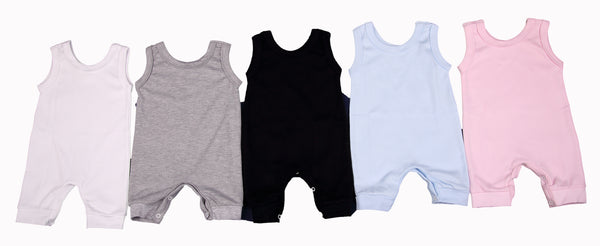 Bulk Pack Sleeveless Baby Rompers In Blank Colours 100% Cotton - Little Lumps
