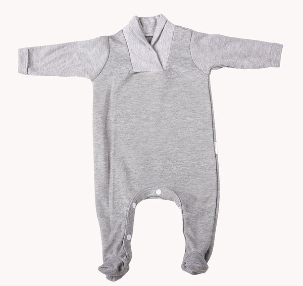2-Pack Blank Babygros With Crossover Collar In 100% Cotton - Little Lumps