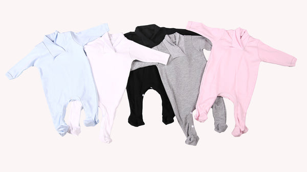 Blank Babygro Sets With Crossover Collar (6-Pack) - Little Lumps