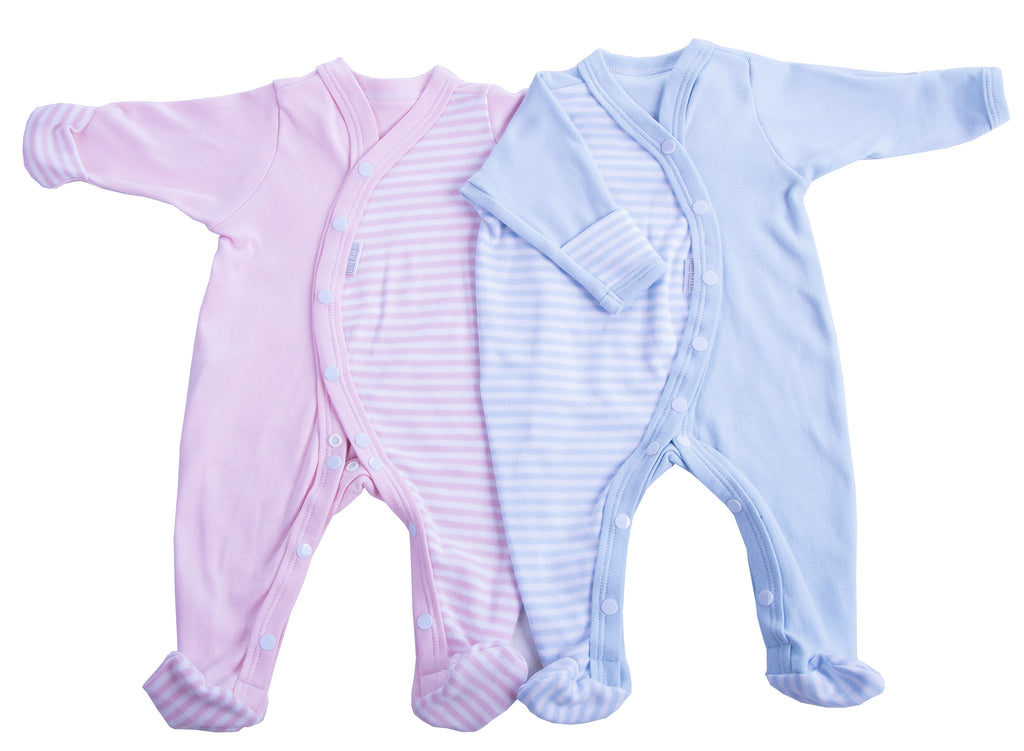 Baby Mitten Striped Babygro - Little Lumps