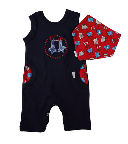 Navy Baby Romper & Bib - Little Lumps Baby Clothing Online