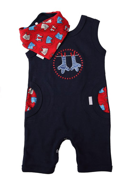 Navy Romper & Bib - Little Lumps Baby Clothing Online
