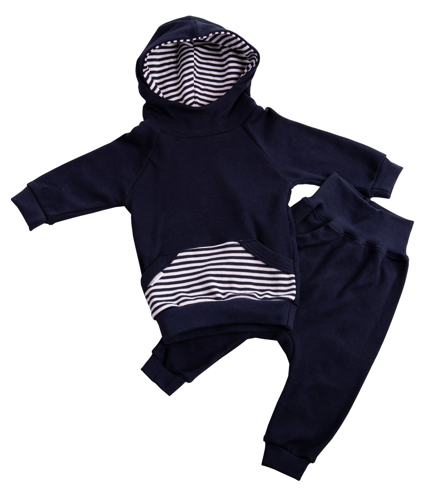 Navy Striped Baby Hoodie Tracksuit - Little Lumps