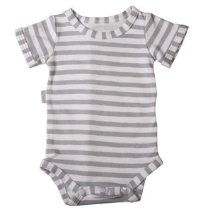 Baby Onesie - Grey Striped - Little Lumps