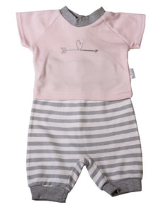 Striped Short Set - pink - Little Lumps Baby Clothing Online