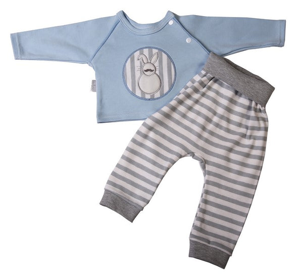 Blue Raglan Baby Bunny top & Sweatpants set - Little Lumps