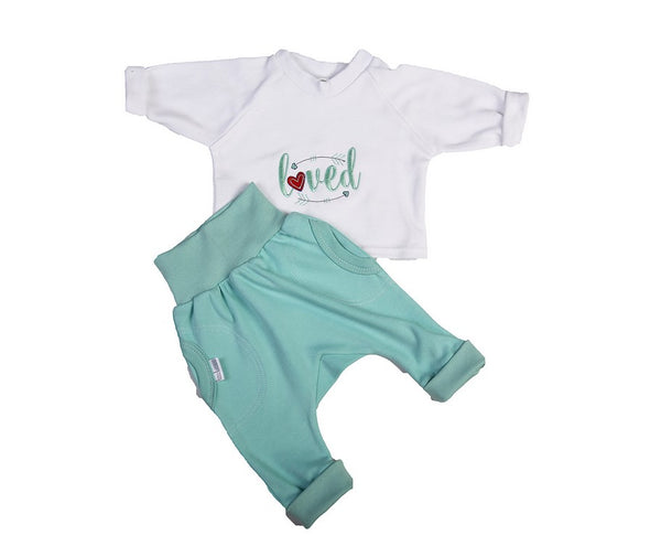 Aqua Harem-Style Baby Slouch Pants With Matching Top - Little Lumps