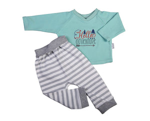 Aqua Top And Striped Track Pants - Little Lumps Baby Clothing Online