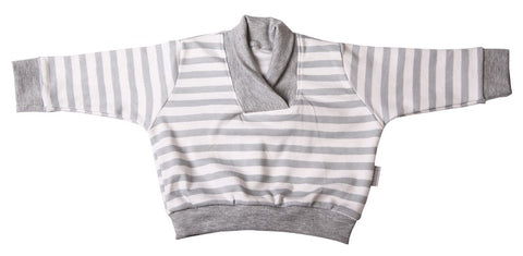 Grey And White Striped Baby Sweatshirt With Crossover Collar - Little Lumps