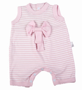 Pink Bow Stripe Baby Romper - Little Lumps