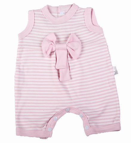 Pink Bow Stripe Romper - Little Lumps Baby Clothing Online