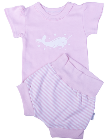 Baby Pink Narwhal Print T-shirt & Short Set - Little Lumps