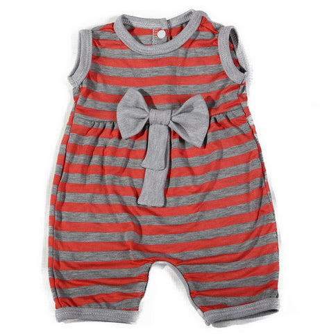 Coral striped romper - Little Lumps Baby Clothing Online