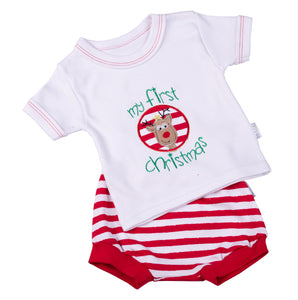 My 1st Christmas Baby Short Set