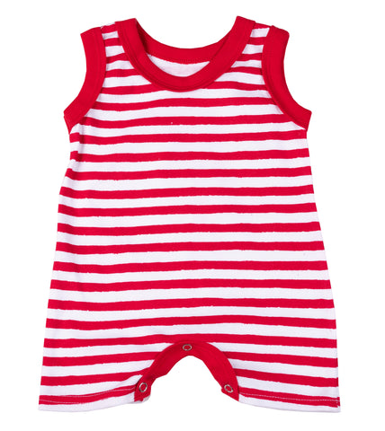 Christmas - Baby Striped Sleeveless  Short Romper