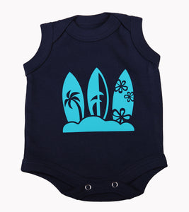 Navy Surfboard Baby Sleeveless Onesie - Little Lumps