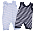 Load image into Gallery viewer, Navy Striped Baby Romper