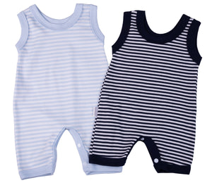Navy Striped Baby Romper