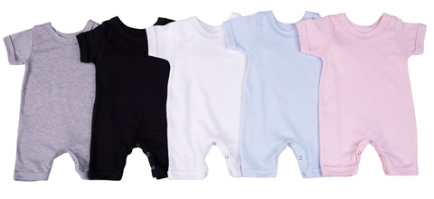 2-Pack Short Sleeved Blank Baby Romper Made From 100% Cotton