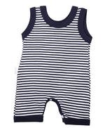 Load image into Gallery viewer, Navy Striped Baby Romper - Little Lumps