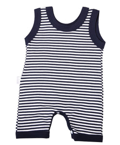 Navy Striped Baby Romper - Little Lumps