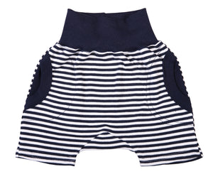 Navy Stripe Baby Slouch Shorts - Little Lumps
