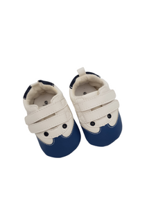 Baby Velcro Takkies - White and Blue - Little Lumps