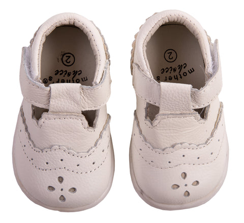 White Leather T-Bar Shoes - Little Lumps