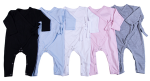 100% Cotton Blank Infant Kimono Babygro In One Colour (6-Pack) - Little Lumps