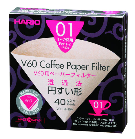 Hario V60 Dripper Paper Filters Unbleached, 1 Cup - 40