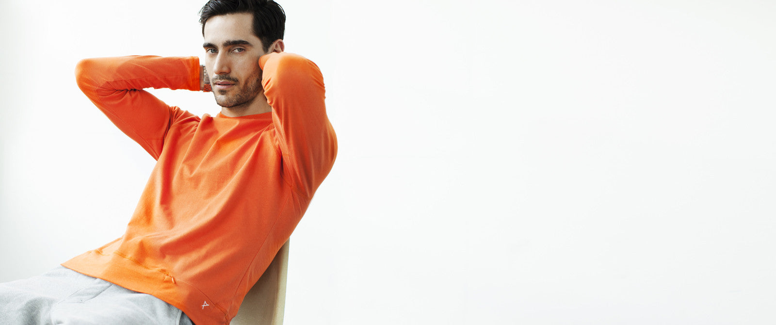 Athleisure Fashion for Men. Orange Cotton long sleeved T shirt from The Mantique Winchester