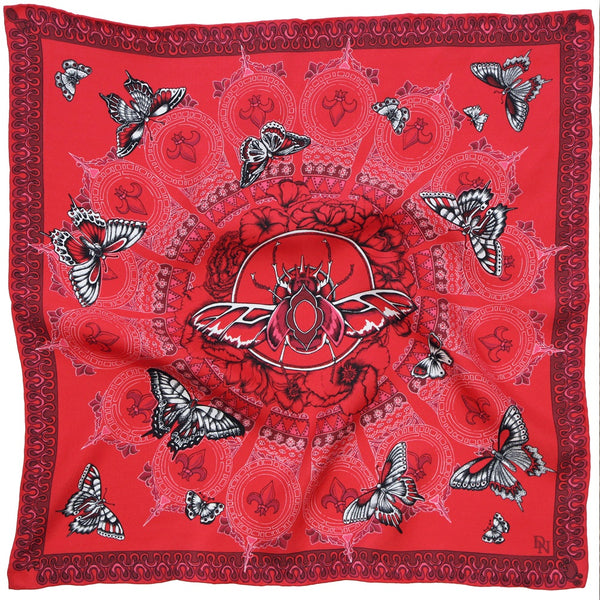 Queen stag beetle silk square red