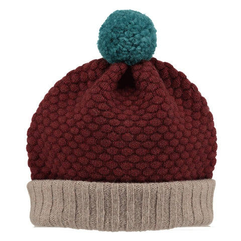 lambswool bobble hat maroon