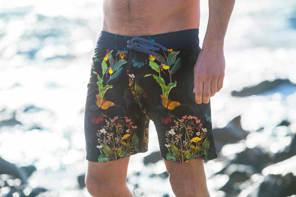 Riz Boardshorts Burgh swim shorts in Endangered Flower print. Available at The Mantique Winchester