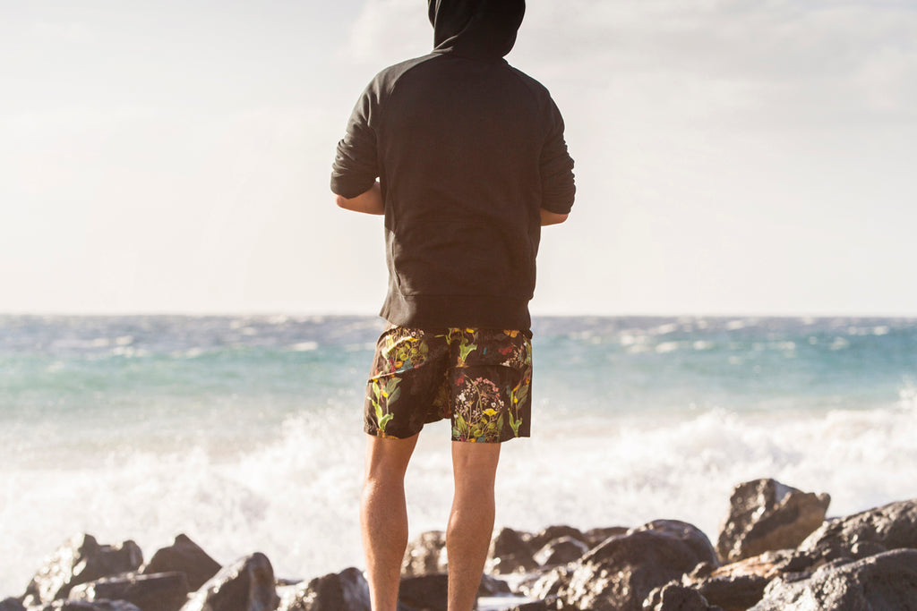 Endangered flower swim shorts from Riz Boardshorts, designed from recycled plastic bottles. Inspired by the British flora and fauna