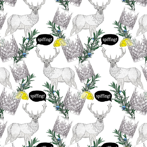 Stag and gin cotton tea towel