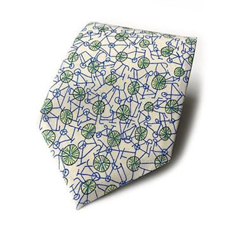Handmade Liberty print cotton tie from Kate Temple in Grayson Perry Philippa's Bicycle print. Available from The Mantique Winchester