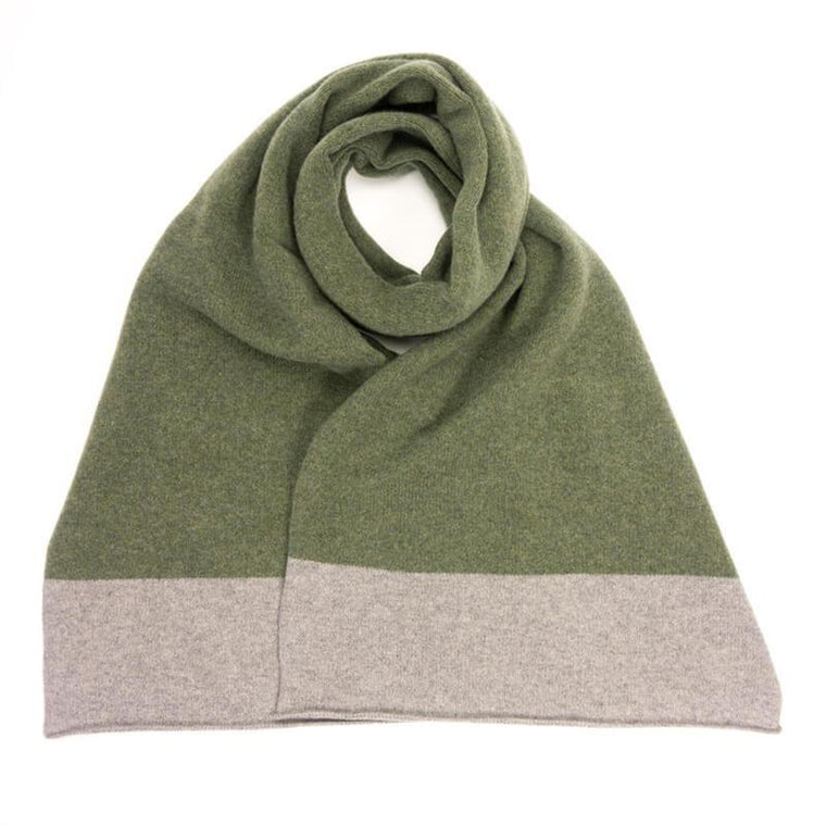 Men's green and grey handmade lambswool scarf from Catherine Tough, available at The Mantique Winchester